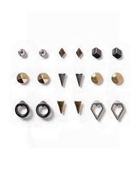 Topman | Metallic Mixed Metal Stud Earrings 9 Pack* for Men | Lyst