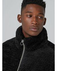 Topman - Black Faux Fur Puffer Jacket for Men - Lyst