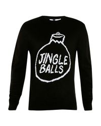 Topman - Black Jingle Balls Crew Neck Christmas Jumper for Men - Lyst