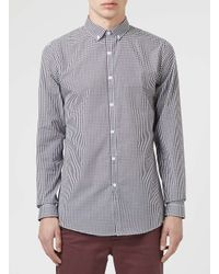 TOPMAN - Blue Long Sleeve Gingham Shirt for Men - Lyst