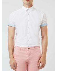 Topman - White And Light Blue Dot Short Sleeve Smart Shirt for Men - Lyst