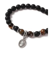 Topman - Brown Beaded Charm Bracelet for Men - Lyst