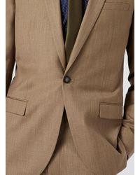 Topman - Light Brown Crosshatch Skinny Fit Suit Jacket for Men - Lyst