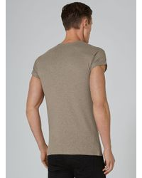 Topman - Purple Taupe Linen Look Muscle T-shirt for Men - Lyst