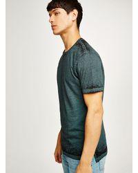 Topman - Green Teal Burnout Fabric Short Sleeve Top for Men - Lyst