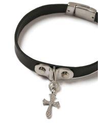 Topman - Black Leather Cross Bracelet for Men - Lyst