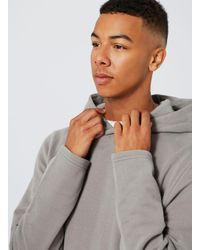 Topman - Gray Grey Fixed Hem Hoodie for Men - Lyst
