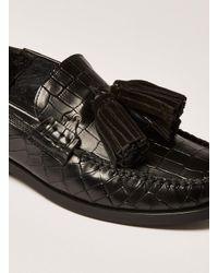 Topman - Black Leather Tassel Encore Loafer for Men - Lyst