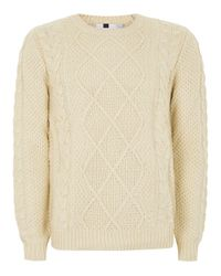 Topman Natural Cream Marble Cable Knit Jumper for men