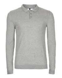 Topman - Gray Grey Marl Muscle Fit Knitted Polo for Men - Lyst