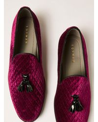 Topman - Red Burgundy Faux Suede Rana Quilted Loafer for Men - Lyst