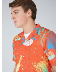 Topman - Red Orange Ocean Print Hawaiian Short Sleeve Shirt for Men - Lyst