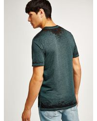 Topman - Green Teal Burnout Fabric Short Sleeve Top for Men - Lyst