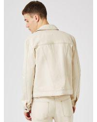Topman - Natural Design Off White Badged Trucker Jacket for Men - Lyst