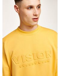 Topman - Vision Street Wear Yellow Embossed Super Sweatshirt for Men - Lyst