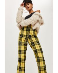 TOPSHOP Yellow Tartan Checked Trousers