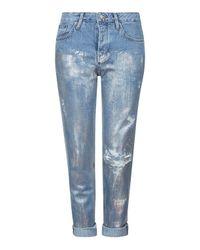 TOPSHOP | Blue Moto Metallic Hayden Jeans | Lyst
