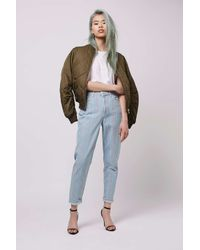TOPSHOP - Blue Moto Summer Stripe Mom Jeans - Lyst
