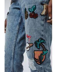 TOPSHOP - Blue Moto Badge Lucas Jeans - Lyst