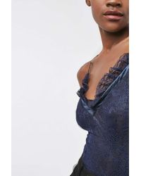 TOPSHOP - Blue Lace Woven Frill Body - Lyst