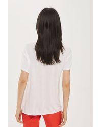 TOPSHOP - White Embellished Floral T-shirt - Lyst