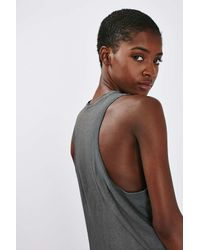 TOPSHOP - Gray Embroidered Washed Vest - Lyst