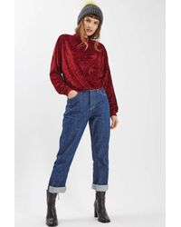 TOPSHOP - Red Velour Embossed Sweatshirt - Lyst