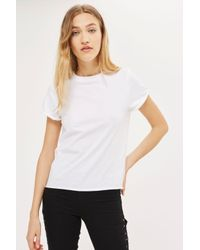 TOPSHOP - White Roll Back T-shirt - Lyst