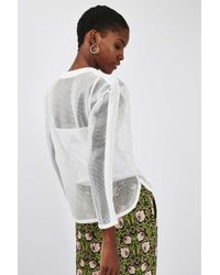 TOPSHOP - White Lace Airtex Sweatshirt - Lyst
