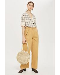 TOPSHOP - White Check Asymmetric Shirt - Lyst