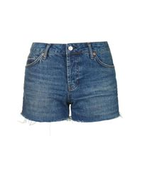 TOPSHOP - Blue Moto Dark Denim Ashley Short - Lyst