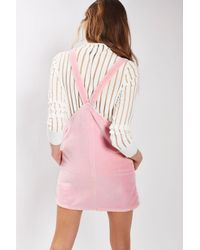 TOPSHOP - Moto Pink Velvet Pinafore Dress - Lyst