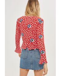 TOPSHOP - Red Moto Denim Mini Skirt - Lyst