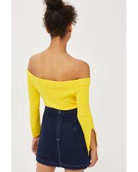 TOPSHOP   Blue Moto A-line Denim Skirt   Lyst