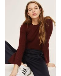TOPSHOP - Purple Flute Sleeve Jumper With Cashmere - Lyst