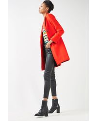 TOPSHOP - Red Slim Fit Double Breasted Coat - Lyst