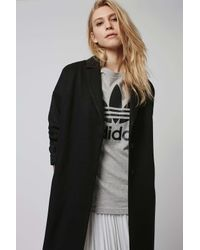 TOPSHOP - Black Textured Longline Duster - Lyst