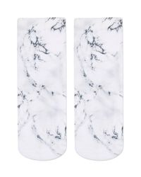 TOPSHOP | Gray Marble Print Ankle Socks By Living Royal | Lyst