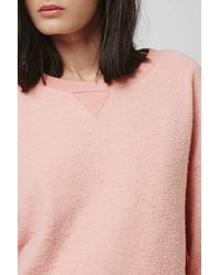TOPSHOP - Pink Basic Brushed Sweat - Lyst