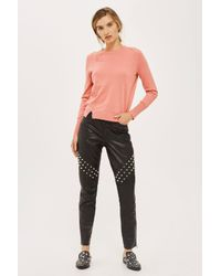 TOPSHOP - Pink Knitted Crew Neck Jumper - Lyst
