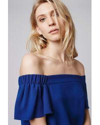 TOPSHOP - Blue Off The Shoulder Dress - Lyst