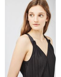 TOPSHOP | Black Pleated Midi Slip Dress | Lyst