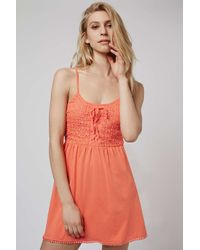 TOPSHOP - Orange Crochet Lace Sundress - Lyst