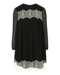 TOPSHOP | Black Lace Smock Dress | Lyst