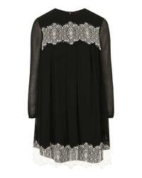 TOPSHOP | Black Lace Smock Dress | Lyst