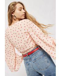 TOPSHOP - Pink Floral Jacquard Wrap Top - Lyst