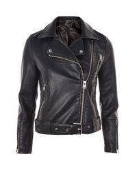 TOPSHOP   Black Faux Leather Biker Jacket   Lyst