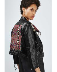 TOPSHOP - Black Embroidered Biker Jacket By Native Rose - Lyst