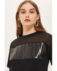 Calvin Klein | Black Vinyl Crop T-shirt By | Lyst