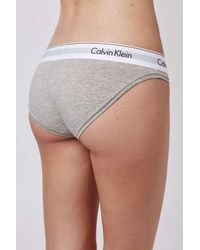 TOPSHOP - Gray Modern Cotton Bikini Briefs By Calvin Klein - Lyst